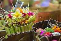 Bali, Indonesia.  An Offering Left at the Temple in Hopes of a Good Rice Harvest.  Pura Dalem Temple, Dlod Blungbang Village.