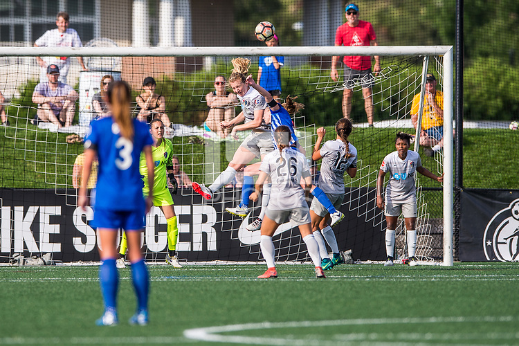 Boston, MA - Saturday June 24, 2017: Samantha Mewis and Julie King during a regular season National Women's Soccer League (NWSL) match between the Boston Breakers and the North Carolina Courage at Jordan Field.