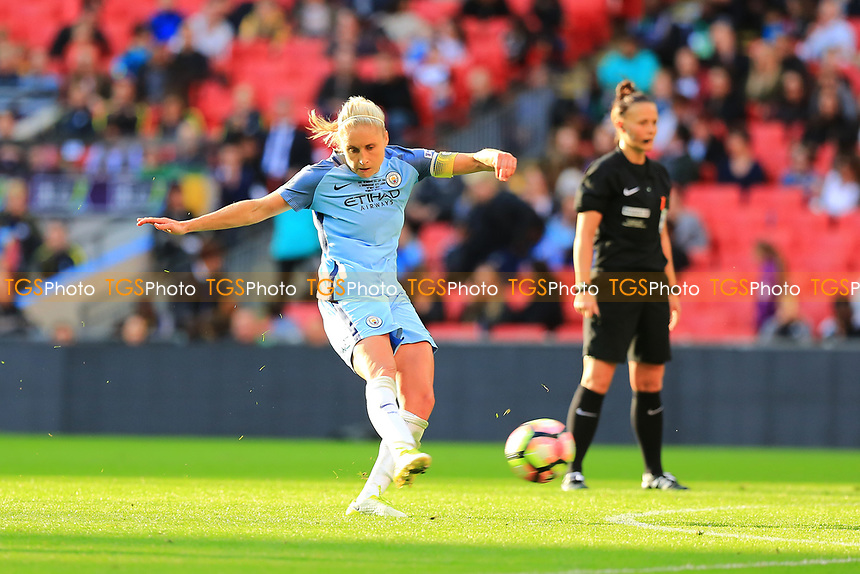 Captain Steph Houghton of Manchester City Women takes a free kick during Birmingham City Ladies vs Manchester City Women, SSE Women's FA Cup Final Football at Wembley Stadium on 13th May 2017