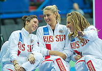Moskou, Russia, Februari 4, 2016,  Fed Cup Russia-Netherlands,  Draw Ceremony, ltr: Russian  Captain Anastasia Myskina, Maria Sharapova and Svetlana Kuznetsova<br /> Photo: Tennisimages/Henk Koster