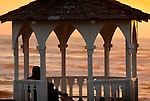 Kalaloch beach. Gazebo at sunset with single person.