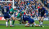 9th February 2019, Murrayfield Stadium, Edinburgh, Scotland; Guinness Six Nations Rugby Championship, Scotland versus Ireland; Jamie Ritchie (Scotland) stops Chris Farrell (Ireland)