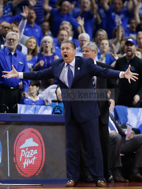 Kentucky Wildcats head coach John Calipari reacts against the North Carolina Tar Heels during the 2017 NCAA Men's Basketball Tournament South Regional Elite 8 at FedExForum in Memphis, TN on Friday March 24, 2017. Photo by Michael Reaves | Staff
