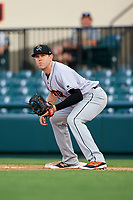 Jupiter Hammerheads first baseman Dustin Geiger (24) during a game against the Lakeland Flying Tigers on April 17, 2017 at Joker Marchant Stadium in Lakeland, Florida.  Lakeland defeated Jupiter 5-1.  (Mike Janes/Four Seam Images)
