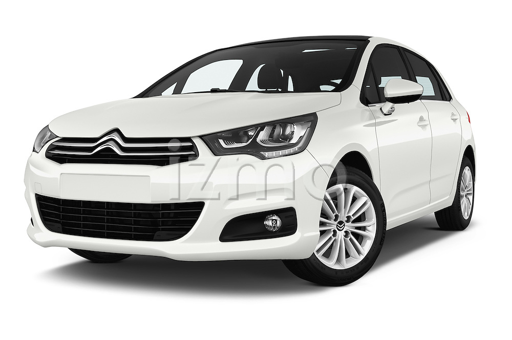 Stock pictures of low aggressive front three quarter view of 2016 Citroen C4 Feel 5 Door Hatchback Low Aggressive