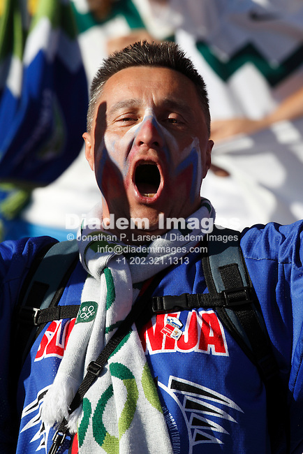 JOHANNESBURG - JUNE 18:  Slovenia supporter singing at a 2010 FIFA World Cup soccer match between Slovenia and the USA June 18, 2010 in Johannesburg, South Africa.  NO mobile use.  Editorial ONLY.  (Photograph by Jonathan P. Larsen)