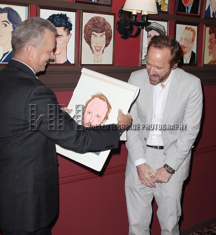 John Benjamin Hickey attends Sardi's unveils Caricatures of 'The Normal Heart' Tony Award Nominees Ellen Barkin, John Benjamin Hickey & Joe Mantello at Sardi's in New York City.