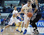 March 1, 2016 - Colorado Springs, Colorado, U.S. -   Air Force center, Zach Moer #41, drives for the basket during an NCAA basketball game between the Utah State University Aggies and the Air Force Academy Falcons at Clune Arena, United States Air Force Academy, Colorado Springs, Colorado.  Utah State defeats Air Force 78-65.