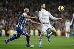 Real Madrid´s Isco (R) and Deportivo de la Courna´s Manuel Pablo during La Liga match at Santiago Bernabeu stadium in Madrid, Spain. February 14, 2015. (ALTERPHOTOS/Victor Blanco)