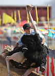 Brade Emmans rides in an ostrich race at the International Camel Races in Virginia City, Nev., on Friday, Sept. 9, 2011. .Photo by Cathleen Allison