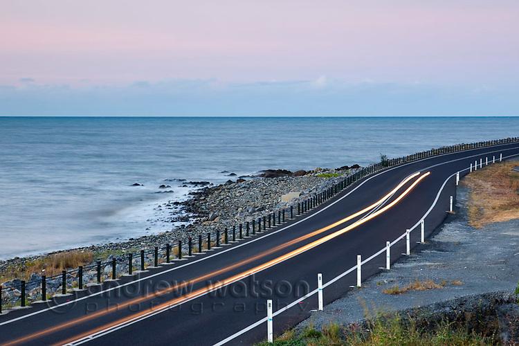 Car light trails on the Captain Cook Highway between Port Douglas and Cairns, Queensland, Australia