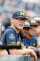 Michigan Wolverines outfielder Dominic Clementi (13) before during Game 6 of the NCAA College World Series against the Florida State Seminoles on June 17, 2019 at TD Ameritrade Park in Omaha, Nebraska. Michigan defeated Florida State 2-0. (Andrew Woolley/Four Seam Images)