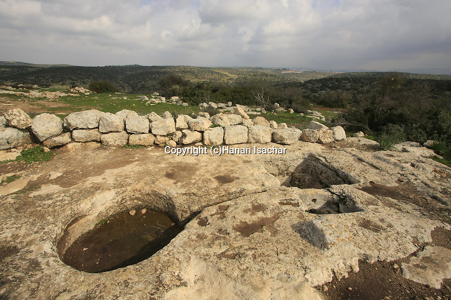 Israel, Shephelah. An ancient wine press in Hurbat Itri, ruins of a Jewish village from the Second Temple period