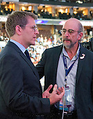 Former White House Press Secretary Jay Carney and actor Richard Schiff have a conversation over the podium at the 2016 Democratic National Convention held at the Wells Fargo Center in Philadelphia, Pennsylvania on Tuesday, July 26, 2016.<br /> Credit: Ron Sachs / CNP<br /> (RESTRICTION: NO New York or New Jersey Newspapers or newspapers within a 75 mile radius of New York City)