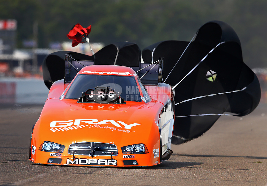 Aug. 18, 2013; Brainerd, MN, USA: NHRA funny car driver Johnny Gray during the Lucas Oil Nationals at Brainerd International Raceway. Mandatory Credit: Mark J. Rebilas-