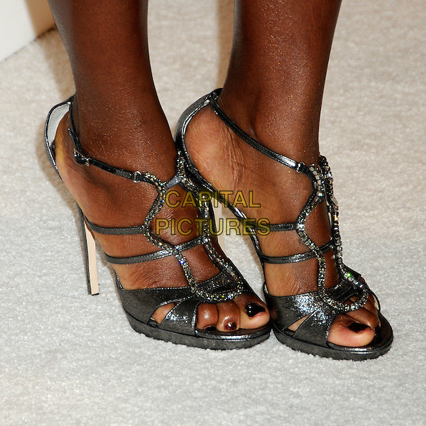 VIOLA DAVIS's shoes .3rd Annual Women In Film Pre-Oscar Party held at a Private Residence in Beverly Hills, California, USA, .4th March 2010..detail feet shiny  silver sandals open toe cut out strappy diamante .CAP/ADM/BP.©Byron Purvis/AdMedia/Capital Pictures.
