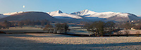 United Kingdom, Wales, Powys, Brecon Beacons National Park, Usk Valley, Llanfrynach: Snow covered peak of Pen y Fan in morning frost { Grossbritannien, Wales, Powys, im Brecon Beacons National Park, bei Capel-y-ffin: Schafe und Ponys weiden im Winter auf dem Hay Bluff Huegel mit Blick auf den Pen y Fan Gipfel in den Black Mountains