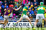Colum Harty, Kerry, in action against Paudie Foley, Wexford, National Hurling League, Division 1B, Round 3, at Austin Stack Park, Tralee, on Sunday.