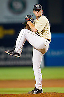 Wake Forest Demon Deacons relief pitcher Nate Jones #42 in action against the Miami Hurricanes at NewBridge Bank Park on May 25, 2012 in Winston-Salem, North Carolina.  The Hurricanes defeated the Demon Deacons 6-3.  (Brian Westerholt/Four Seam Images)