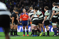 Referee Nigel Owens of Wales speaks to the front rows during the 125th Anniversary Match between Barbarians and New Zealand at Twickenham Stadium on Saturday 4th November 2017 (Photo by Rob Munro/Stewart Communications)