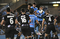 1st November 2019; Leichhardt Oval, Sydney, New South Wales, Australia; A League Football, Sydney Football Club versus Newcastle Jets; Ryan McGowan of Sydney and John Koutroumbis of Newcastle Jets challenge for a header from the corner kick - Editorial Use
