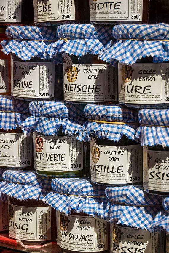 France, Alsace, Haut-Rhin, Colmar: local specialities, marmalade, jam | Frankreich, Elsass, Haut-Rhin, Colmar: lokale Spezialitaeten, diverse Konfitueren