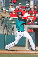 Coastal Carolina Chanticleers catcher Tucker Frawley #8 at bat during a game against the North Carolina State Wolfpack at BB&T Coastal Field on February 26, 2012 in Myrtle Beach, SC.  Coastal Carolina defeated N.C. State 3-2. (Robert Gurganus/Four Seam Images)