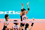 Ai Kurogo of Japan celebrates a point with her team during the FIVB Volleyball Nations League Hong Kong match between Japan and Italy on May 29, 2018 in Hong Kong, Hong Kong. Photo by Marcio Rodrigo Machado / Power Sport Images