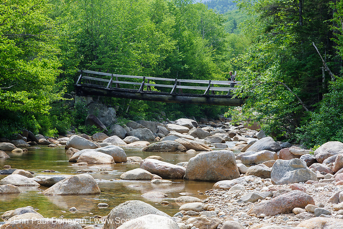 Bridge at North Fork Junction in the New Hampshire Pemigewasset Wilderness. This view shows the rocky East Branch of the Pemigewasset River with Thoreau Falls Trail Bridge off in the distance.
