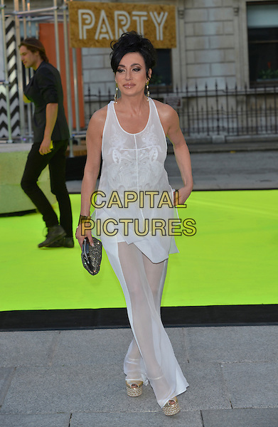 Nancy Dell'Olio<br /> Royal Academy Summer Exhibition Preview Party 2013, London, England 5th June 2013<br /> full length white sheer top trousers clutch bag<br /> CAP/PL<br /> &copy;Phil Loftus/Capital Pictures