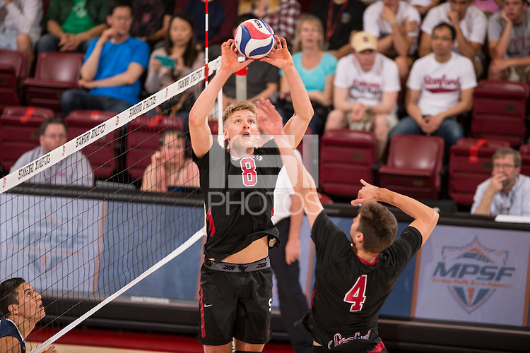 Stanford, CA, April 16, 2016<br /> Stanford Men's Volleyball vs. UC Santa Barbara in Maples Pavilion.MPSF Quarterfinals. Stanford lost 2-3 after overcoming an 0-2 deficit.
