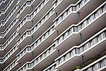 Abstract geometric shapes of modern apartment block buildings in central Rotterdam Netherlands