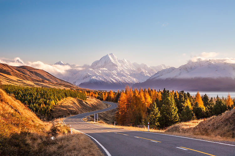 Aoraki / Mount Cook from Peter's Lookout in Autumn. Canterbury, South Island, New Zealand - stock photo, canvas, fine art print