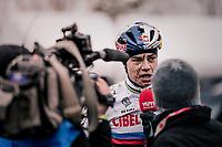 Wout Van Aert (BEL/Cibel-Cebon) interviewed during his course recon<br /> <br /> Belgian National CX Championschips<br /> Kruibeke 2019