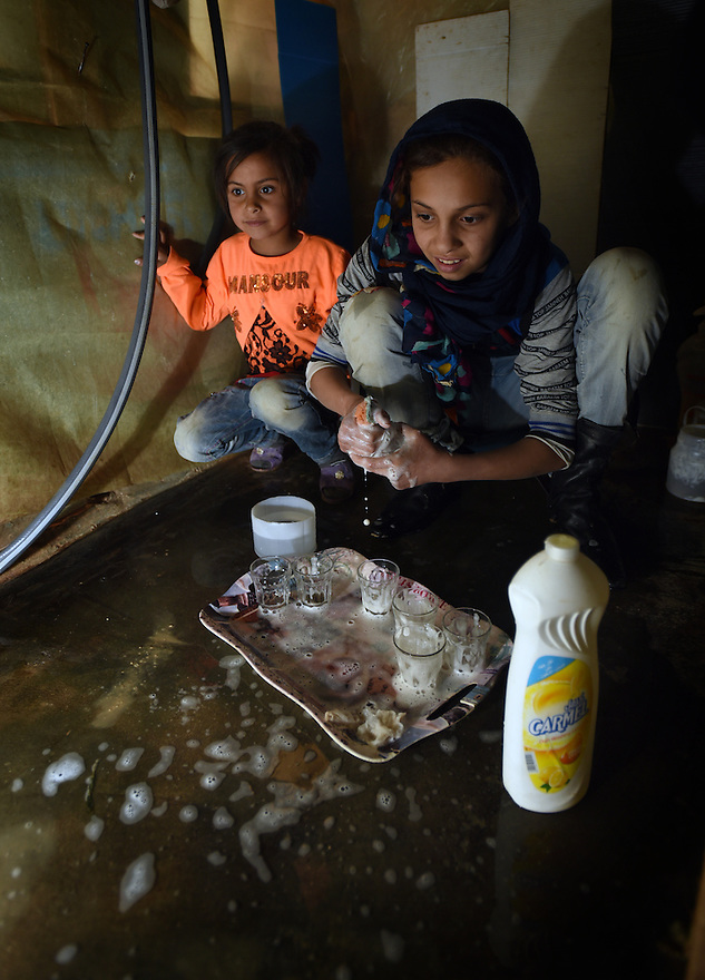 TRAUMA HEALING CASE STUDIES IN LEBANON . REFUGEE FAMILY OF MOUSA AND FATHIA. DAUGHTERS MYSAA, 6 AND MARIAM, 12,  IN THE TRIUMPHANT MERCY REFUGEE CAMP, ZAHLE, CLOSE TO THE SYRIAN BORDER, IN LEBANON. 20/04/16, PHOTO BY CLARE KENDALL.