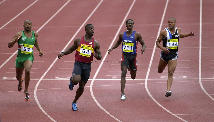 Photo: Richard Lane..Norwich Union World Trials & AAA Championships. 26/07/2003..Dwain Chambers (64) wins the 100m ahead of Darren Campbell (57) Malcolm Christie (211) and Jason Gardener (134).
