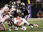 Oregon State Beavers cornerback Rashaad Reynolds #16 tackles TCU Horned Frogs wide receiver Jeremy Kerley #85 during the game between the Oregon State Beavers and the TCU Horned Frogs at the Cowboy Stadium in Arlington,Texas. TCU defeated Oregon State 30-21.