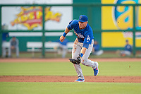 Tulsa Drillers infielder Gavin Lux (10) fields a ground ball on May 13, 2019, at Arvest Ballpark in Springdale, Arkansas. (Jason Ivester/Four Seam Images)