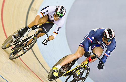 19 FEB 2012 - LONDON, GBR - France's Kevin Sireau (FRA) (on the right) leads Germany's Maximilian Levy (GER) during their Men's Sprint semi final at the UCI Track Cycling World Cup, and London Prepares test event for the 2012 Olympic Games, in the Olympic Park Velodrome in Stratford, London, Great Britain .(PHOTO (C) 2012 NIGEL FARROW)