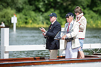 Henley Royal Regatta, Henley on Thames, Oxfordshire, 29 June-3 July 2015.  Thursday  11:05:03   30/06/2016  [Mandatory Credit/Intersport Images]<br /> <br /> Rowing, Henley Reach, Henley Royal Regatta.<br /> <br /> Official Timekeepers and the Race Reporter on the Stern of the Umpire's Launch