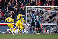 GOAL: Mark Hughes of Accrington Stanley slots into the empty net to win it for Accrington Stanley during the Sky Bet League 2 match between Wycombe Wanderers and Accrington Stanley at Adams Park, High Wycombe, England on the 30th April 2016. Photo by Liam McAvoy / PRiME Media Images.