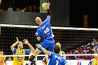 GRONINGEN - Volleybal, Lycurgus - SK Posojilnica Aich/Dob, voorronde Champions League, seizoen 2018-2019, 11-10-2018,  smash Lycurgus speler Dennis Borst