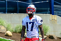 June 13, 2017: New England Patriots wide receiver DeAndrew White (17) walks to the practice field at the New England Patriots organized team activity held on the practice field at Gillette Stadium, in Foxborough, Massachusetts. Eric Canha/CSM