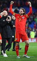 19th November 2019; Cardiff City Stadium, Cardiff, Glamorgan, Wales; European Championships 2020 Qualifiers, Wales versus Hungary; Joe Allen of Wales celebrates after qualifying for Euro 2020 - Editorial Use