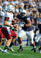 20 September 2014:  Penn State DT Austin Johnson (99) rushes the UMass QB. The Penn State Nittany Lions defeated the University of Massachusetts Minutemen 48-7 at Beaver Stadium in State College, PA.
