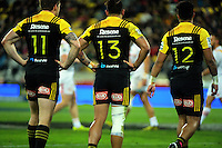 From left, Jason Woodward, Matt Proctor and Willis Halaholo during the Super Rugby semifinal match between the Hurricanes and Chiefs at Westpac Stadium, Wellington, New Zealand on Saturday, 30 July 2016. Photo: Dave Lintott / lintottphoto.co.nz