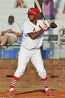 Johnson City Cardinals first baseman David Washington #52 awaits  a pitch during a game against the Greeneville Astros at Howard Johnson Field on July 13, 2011 in Johnson City, Tennessee.  Greeneville won the game 7-4.   (Tony Farlow/Four Seam Images)