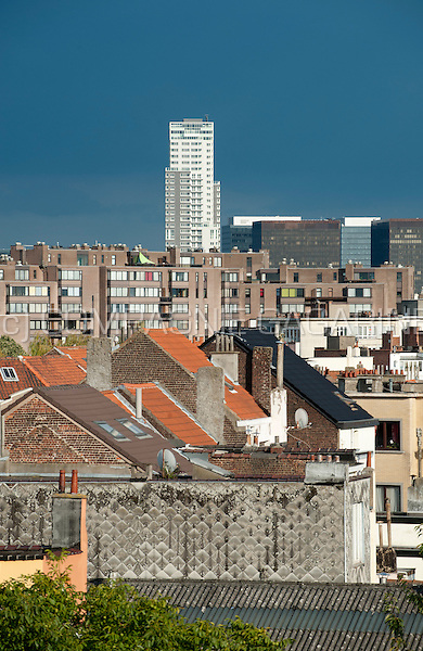 Panoramic view over the Brussels skyline with the UP-site Tower (Belgium, 21/08/2014)