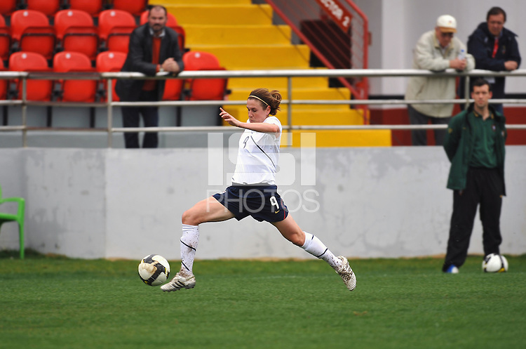 Heather O'Reilly stretches for the ball. The USA defeated Norway 2-1 at Olhao Stadium on February 26, 2010 at the Algarve Cup.