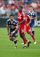 August 21 2010 New York Red Bulls forward Juan Pablo Angel # 9 and Toronto FC midfielder Joseph Nane #15 in action during a game between the New York Red Bulls and Toronto FC at BMO Field in Toronto..The New York Red Bulls won 4-1